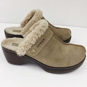 Crocs Beige Suede Heels Clogs Comfort Shoes Size 7